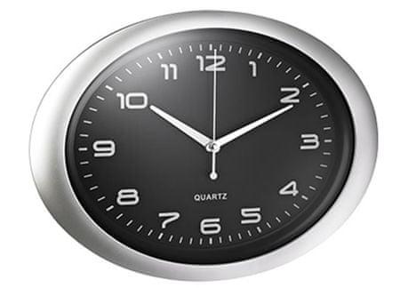Alco stenska ura, ovalna črna/srebrn okvir