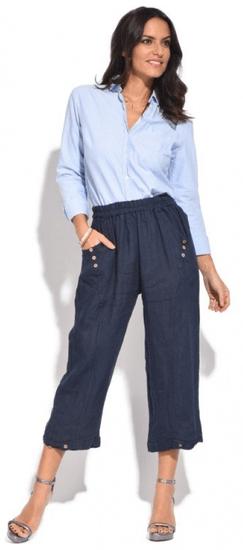 100% Lin dámské kalhoty 38 modrá
