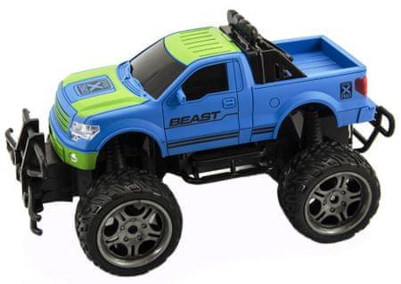 Teddies Auto RC dirkalni avto z velikimi kolesi + daljinec, moder, 30 cm