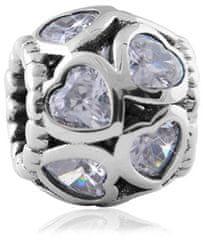Infinity Love Błyszczące sercowy Koralik HSZ-143-WD srebro 925/1000