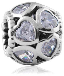 Infinity Love Svetleče kroglice v obliki srca HSZ-143-WD srebro 925/1000