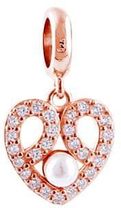 Infinity Love Bronz medál szív kristályokkal és gyöngy HSD-1638-ROSE ezüst 925/1000