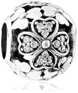 Infinity Love Srebrna kroglica z bleščečimi cvetovi HSZ-139-D srebro 925/1000