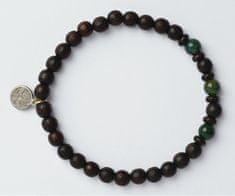 Green Time Karkötő fából készült gyöngyökből és agátból ZWB222A