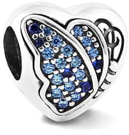 Infinity Love Srdiečkový korálik s motýlikom HSZ-1243-D striebro 925/1000