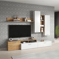 Obývacia stena, dub grandson/biela, EVORA