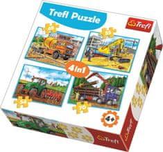 Trefl Puzzle Pracovní stroje 4v1 (35,48,54,70 dílků)