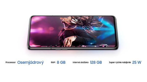 Samsung Galaxy A80, výkonný procesor, velká paměť RAM, velkokapacitní baterie, dlouhá výdrž, super rychlé nabíjení