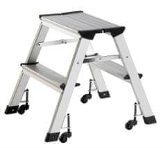 Alco aluminijasta lestev s kolesi, 2 stopnici