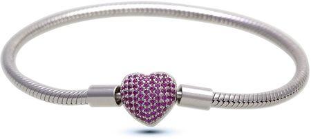 Infinity Love Srebrna zapestnica s škrlatnim srcem HC-374 (Dolžina 18 cm) srebro 925/1000