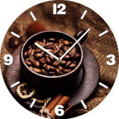 Postershop Nástenné sklenené hodiny: Káva