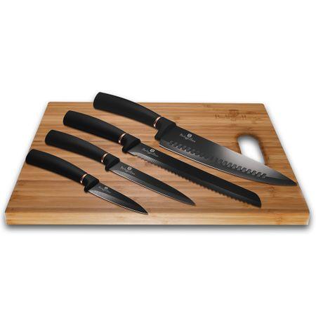 Berlingerhaus Black Rose Collection set nožev z neoprijemljivo površino + rezalna površina, 6 kosov