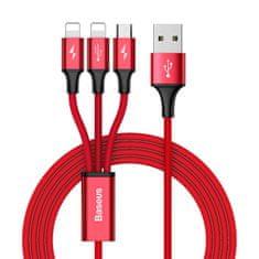 BASEUS przewód zasilający do microUSB Rapid 3w1, Lightning (2×) 3A/1,2 m, CAMLL-SU09, czerwony