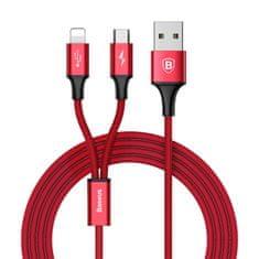 BASEUS przewód zasilający do microUSB Rapid 2w1, Lightning 3A/1,2 m, CAML-SU09, czerwony
