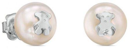 Tous Uhani iz pravih biserov z medvedkom 411143500 srebro 925/1000