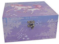 DUE ESSE Krabička z MDF Jednorožec 20x20x10 cm, modrofialová