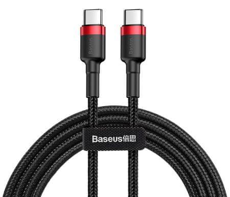 BASEUS Cafule podatkovni kabel TypeC PD 2.0/QC 3.0/60 W/20 V/3 A, 2 m, crveni/crni, CATKLF-H91
