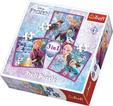 Trefl Puzzle Ledové království Zimní magie 3v1 (20,36,50 dílků)