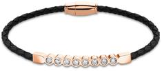 Lotus Style Černý kožený náramek s krystaly LS2003-2/6