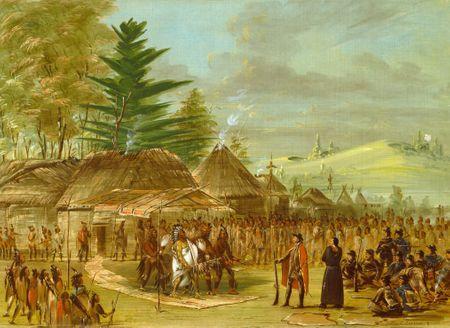 Grafika Puzzle 300 dílků George Catlin: Chief of the Taensa Indians Receiving