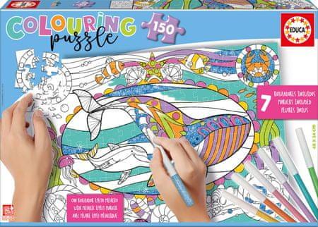 EDUCA Kolorowanka puzzle Morski świat