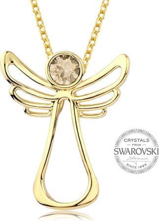 Levien Pozlačena ogrlica s kristalom Guardian Angel