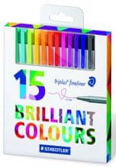 """Staedtler cienkopisy """"Triplus 334"""", zestaw - 15 szt., różne kolory, 0,3 mm, STAEDTLER"""