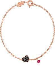 Tous Zapestnica iz roza pozlačenega srca in rubin 314931510-M srebro 925/1000