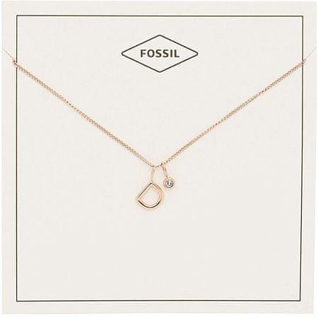 """Fossil Bronzový náhrdelník """"D"""" JF03037791"""