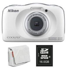 Nikon Coolpix W150, digitalni fotoaparat + SD16GB + torbica bela - Odprta embalaža