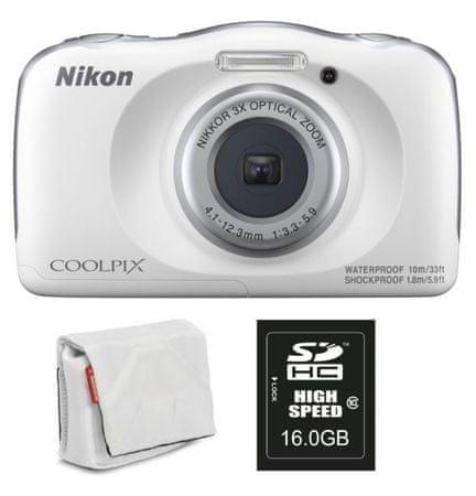Nikon Coolpix W150, digitalni fotoaparat + SD16GB + torbica bela