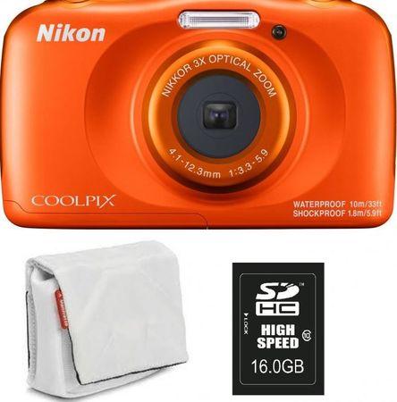 Nikon Coolpix W150, digitalni fotoaparat + SD16GB + torbica oranžna