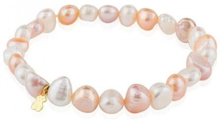 Tous Náramek z pravých perel se zlatým medvídkem 617091010-M zlato žluté 585/1000