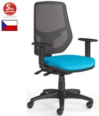Emagra Kancelářská židle LEX 230/B - síťovaná - černý plast - modrá