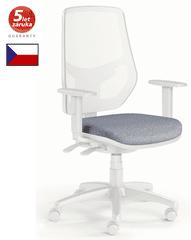 emagra Kancelářská židle LEX 230/BW - síťovaná - bílý plast - šedá
