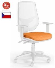 Emagra Kancelářská židle LEX 230/BW - síťovaná - bílý plast - oranžová