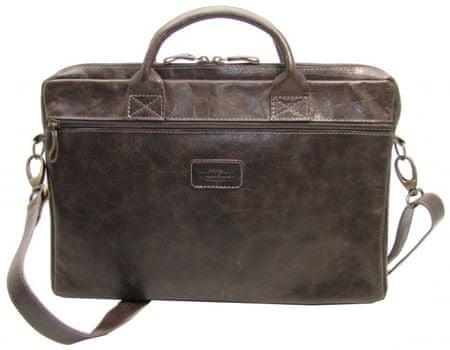 Wildskin Pánska kožená taška na notebook Calle tmavo hnedý lesk - s popruhom Tender