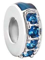 Infinity Love Stříbrný oddělovač s tmavě modrými kamínky HSZ-1199-D stříbro 925/1000