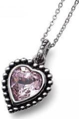 Oliver Weber Beach Antique Heart rózsaszín kristállyal díszített romantikus nyaklánc 11731 212