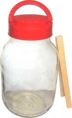 Marex Trade Skleněná láhev na okurky 3 l + dřevěné kleště zdarma