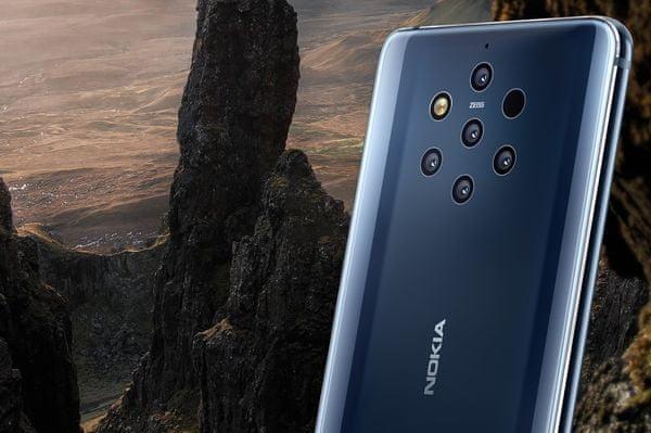 Nokia 9 pureview fotografie 5 fotoaparátů 12mpx 20 mpx čelní fotoaparát raw dng optika zeiss 10× více světla než běžný fotoaparát detaily ostrost barevnost