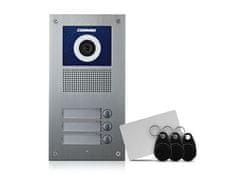 COMMAX DRC-3UC/RFID, barevná dveřní kamerová jednotka se 3 tlačítky a integrovanou čtečkou