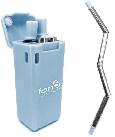 ion8 Összecsukható, rozsdamentes acél szívószálkészítő, kék