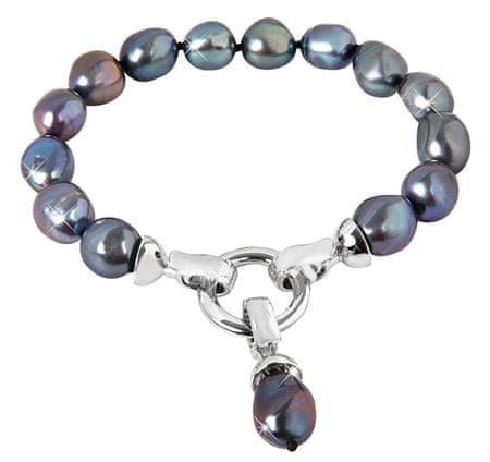 JwL Luxury Pearls Zapestnica iz pravih kovinsko modrih biserov JL0562