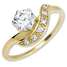 Brilio Čudovit zlati prstan s kristali 229 001 00807 rumeno zlato 585/1000