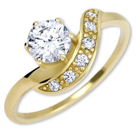 ab9366e64 Krásny zlatý prsteň s kryštálmi 229 001 00807 (Obvod 58 mm) žlté zlato 585  ...