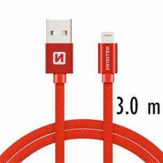 SWISSTEN Dátový kábel SWISSTEN TEXTILE USB / LIGHTNING 3 m ČERVENÝ 71527601