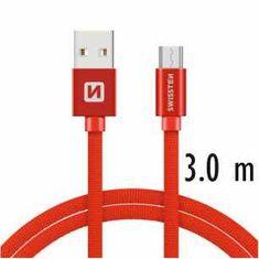 SWISSTEN Dátový kábel TEXTILE USB / microUSB 3 m ČERVENÝ 71527301