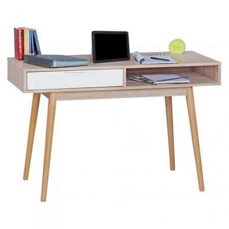 Bruxxi Psací retro stůl Samo, 120 cm, Sonoma dub/bílá