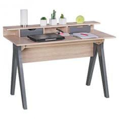 Bruxxi Psací stůl Samo, 120 cm, Sonoma dub/šedá